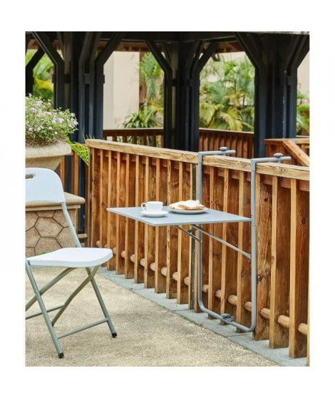 Table de balcon rabattable en Acier - 60 x 78 x 86-101 cm - Bleu