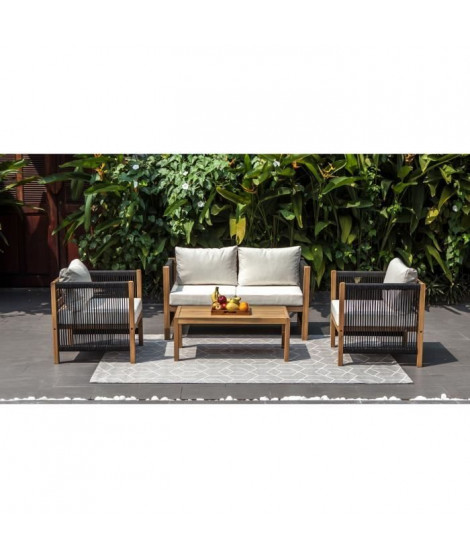 Salon de jardin en bois d'acacia FSC et tissage en corde 4 personnes BORABORA