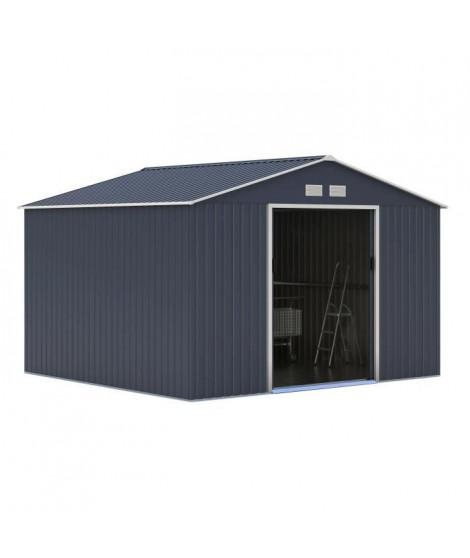Abri de jardin en métal 10,85m² - 2 portes coulissantes - Gris anthracite