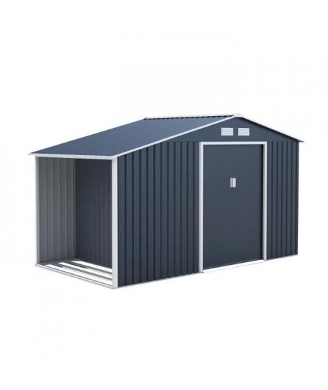 Abri de jardin en acier 6,53 m² - Abris buches avec kit d'ancrage inclus - Gris anthracite