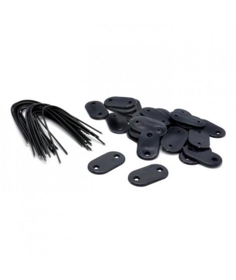 NATURE Set de 26 fixations pour mailles - Ecrans et canisses plastique - Gris anthracite - Attache + brin 14 cm fil de fer pl…