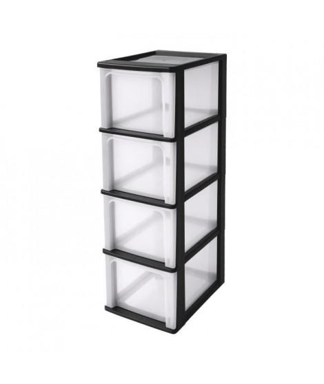 IRIS OHYAMA Tour de rangement 4 tiroirs - Plastique - Noir - 52 L - 35,5 x 26 x 80 cm - alienor ...