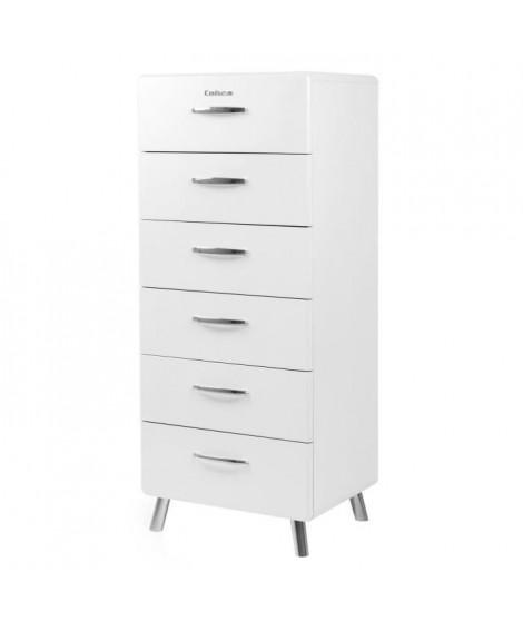 COBRA Chiffonnier style contemporain mélaminé et laqué blanc - L 56 cm