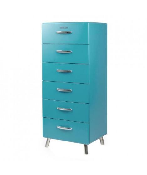 COBRA Chiffonnier style contemporain mélaminé et laqué bleu océan - L 56 cm