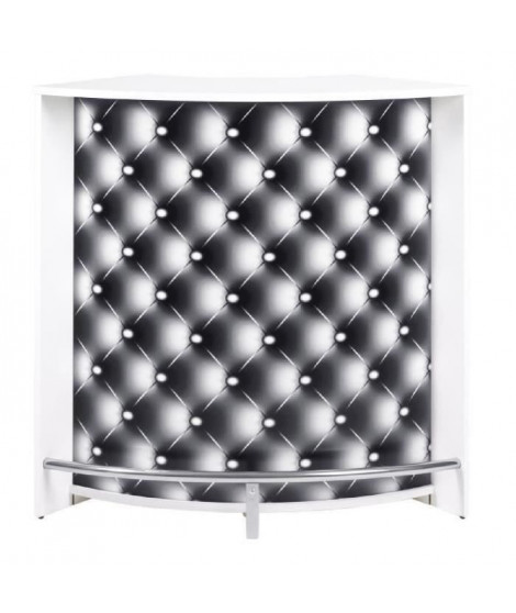 SNACK Meuble multi usages 107 cm - Blanc et capitons