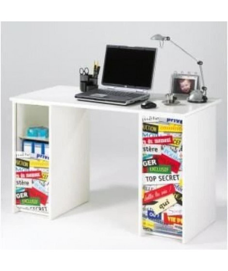 Bureau contemporain blanc mat et imprimé top secret - L 120 cm