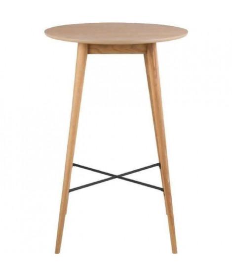 NAGANO Table de bar ronde 4 personnes scandinave placage chene huilé - Pieds contreplaqué et chene massif -  L 70 x l 70 cm