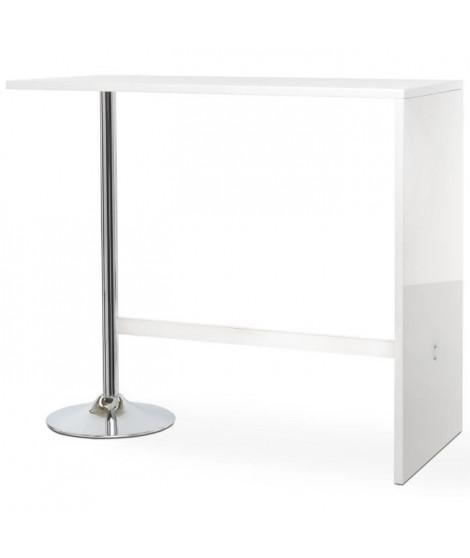 PARTY Table bar de 4 a 6 personnes style contemporain blanc brillant - L 120 x l 60 cm