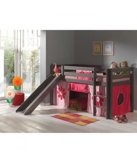 PINO Lit enfant mezzanine toboggan taupe Pink