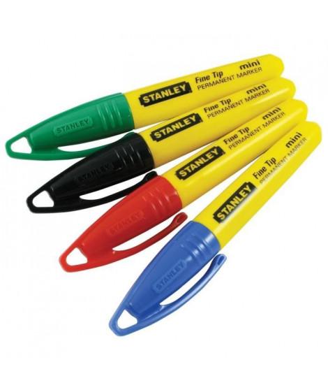 STANLEY 4 mini marqueurs pointe fine - 4 couleurs