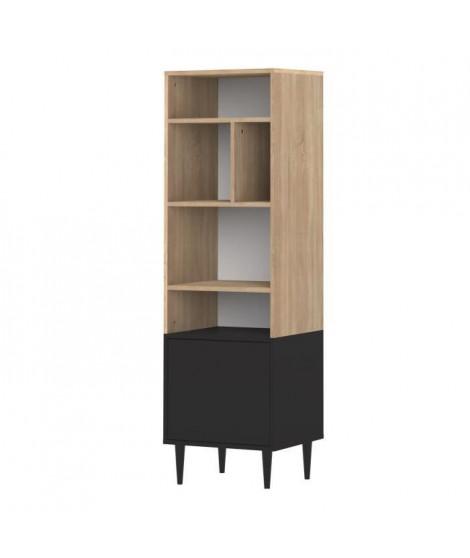 SYMBIOSIS Bibliotheque HORIZON style contemporain - Décor chene naturel et noir - L 46,55 cm