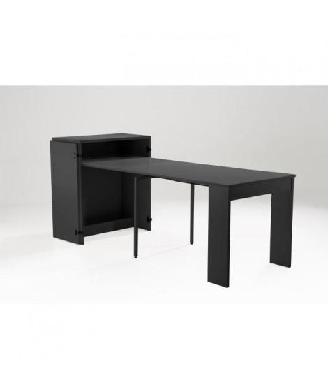 VOLTAIRE Console extensible style contemporain noir mat - L 85 cm