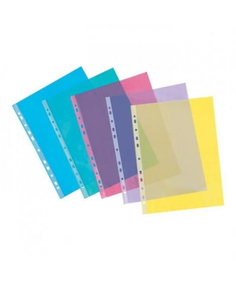 VIQUEL - Lot de 50 Pochettes perforées A4 - PVC - Bord renforcé - Finition lisse - Transparent
