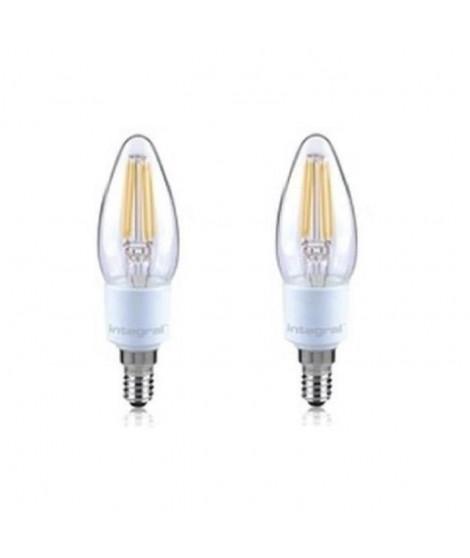 INTEGRAL LED Lot de 2 ampoules flamme E14 filament 4,5W équivalent a 36W 2700 K 420 lm dimmable
