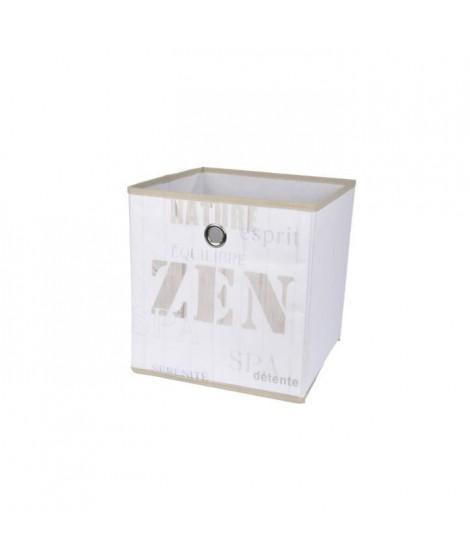 HOMEA Panier de rangement Zen Wood 12x12x12 cm blanc et beige