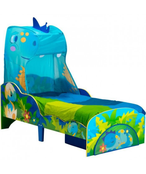 WORLDS APART - Dinosaures - Lit pour enfants avec ciel de lit et tiroir de rangement