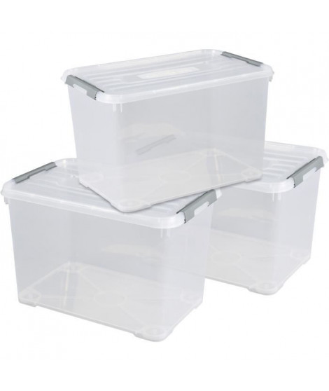 CURVER | Lot de 3 handy box - 65L, TRANSPARENT