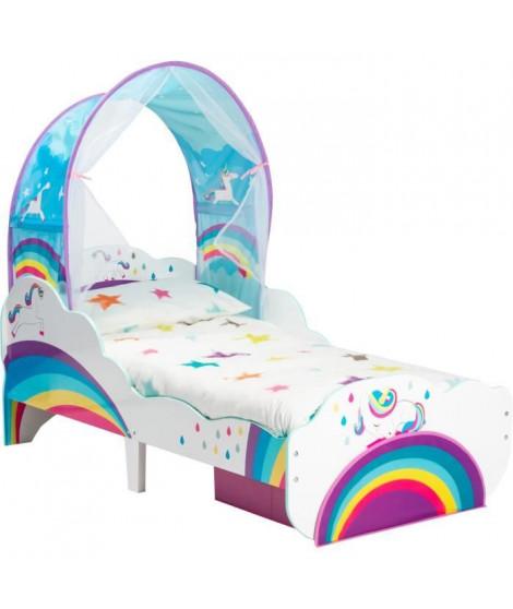 WORLDS APART - Licornes et arcs-en-ciel - Lit pour enfant avec ciel de lit et tiroir de rangement