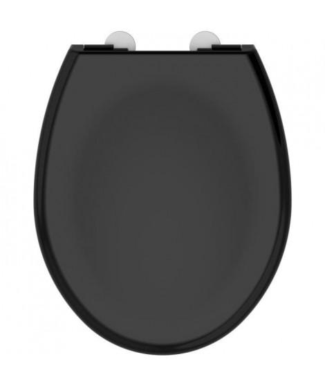 ALLIBERT Abattant de toilette a fermeture silencieuse Boreo - Noir brillant