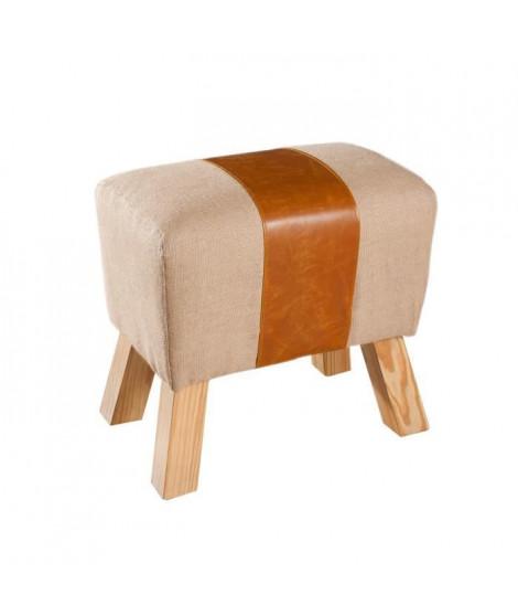 PRAGUES Tabouret cheval d'arçon en polyuréthane et jute beige - Classique - L 49 x P 32 cm