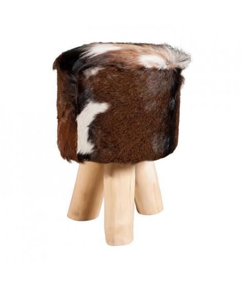 VALENCE Tabouret en teck et peau de chevre creme et marron - Style ethnique - L 31 x P 31 cm