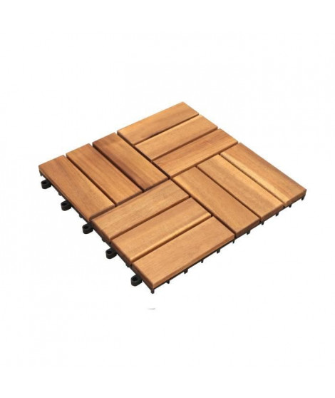 Lot de 10 dalles clipsables en bois d'acacia FSC - 30 x 30 x 2,4 cm