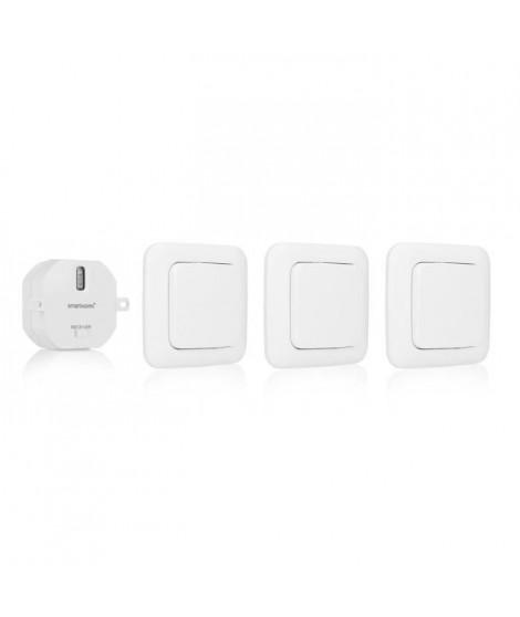 SMARTWARES Pack 3 interrupteurs sans fil avec récepteur encastrable