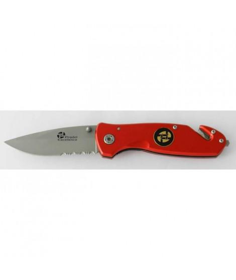 PRADEL EXCELLENCE Couteau d'intervention plusieurs usages - Manche rouge - Clip ceinture
