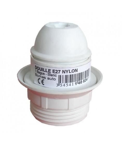 Douille E27 thermoplastique simple bague blanc
