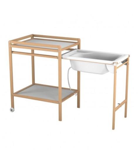 AT4 Table a langer a roulettes avec baignoire - Vernis