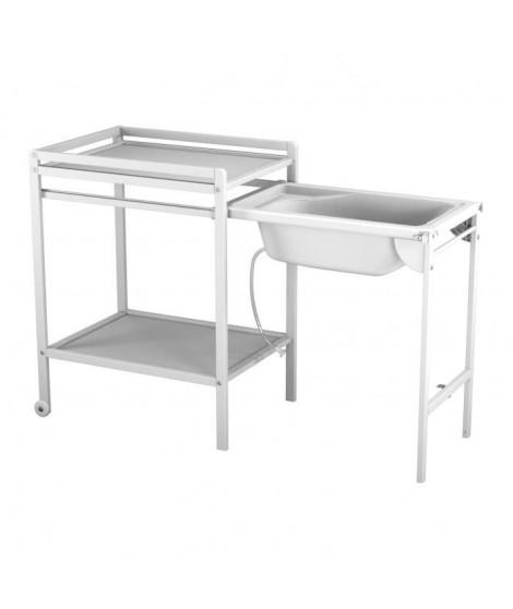 AT4 Table a langer a roulettes avec baignoire -Blanc