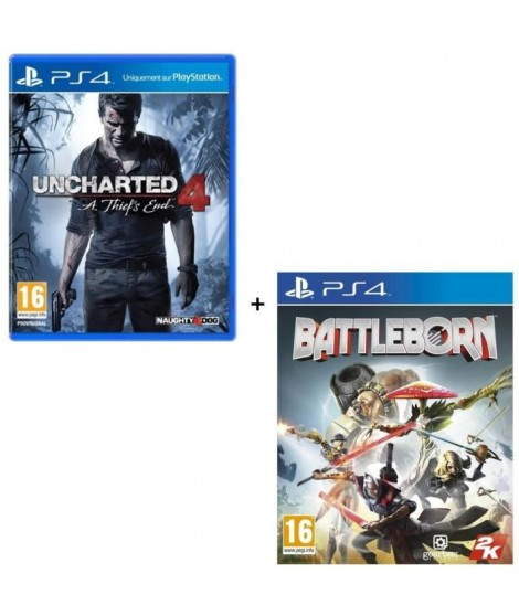 2 Jeux PS4 : Uncharted 4 : A Thief's End + Battleborn