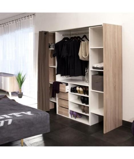 DRESS Kit dressing extensible 112-185 cm + rideau - Blanc et décor chene