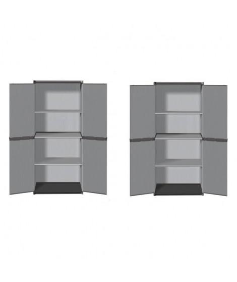 SOGENEX Lot de 2 armoires hautes de rangement 3 tablettes en résine