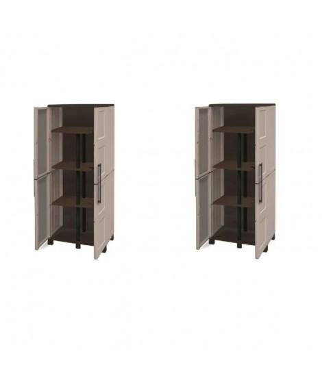 SOGENEX Lot de 2 armoires hautes de rangement 3 tablettes en résine avec porte-balai