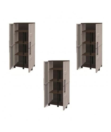 SOGENEX Lot de 3 armoires hautes de rangement 3 tablettes en résine avec porte-balai