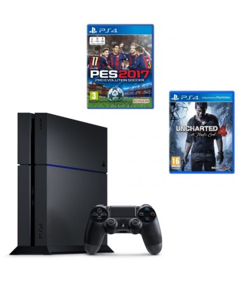 PS4 500 Go Noire + Jeu PES 2017 + Jeu Uncharted 4 : A Thief's End