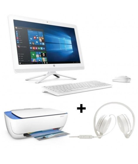 "Pack HP PC Tout en un-22b000nf - Blanc - 21,5""- 4Go de RAM - Windows 10 -Core i3- Intel HD 520-2To+ Casque stéréo+imprimante"