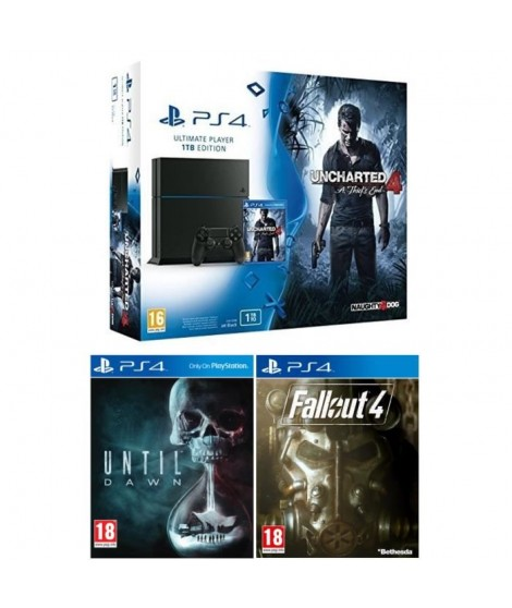 PS4 1 To + 3 Jeux : Uncharted 4 : A Thief's End + Until Dawn + Fallout 4