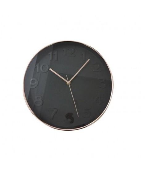 Horloge murale ronde diametre 30,5 cm noir et cuivré