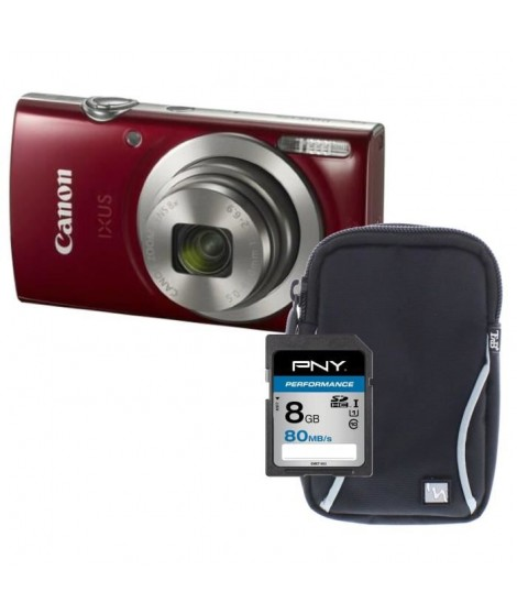 Pack CANON IXUS 175 Appareil photo numérique Compact Rouge - 20,2 mégapixels - Zoom Plus 16x + Carte 8Go + Etui