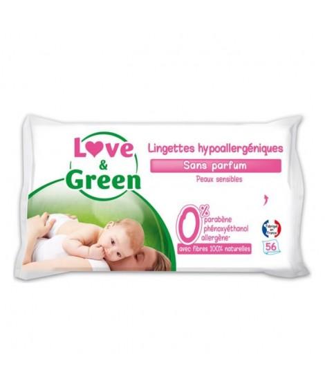 LOVE & GREEN Lingettes Bébé Sans Parfum Hypoallergéniques 0% x56