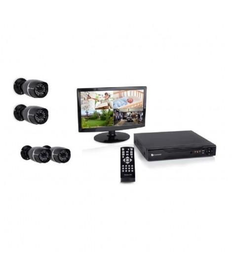 """SMARTWARES Kit de surveillance filaire DVR528S avec enregistreur 8 canaux 500 Gb de stockage, 1 écran 14"""" et 4 caméras bullet"""
