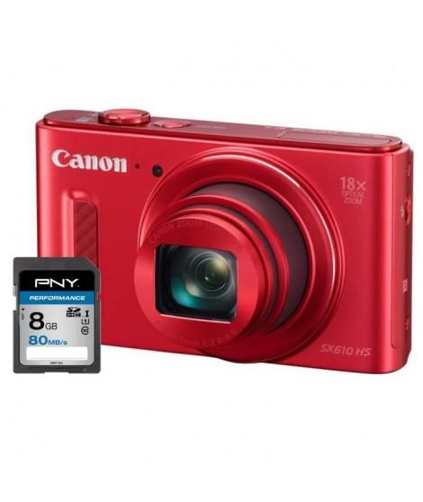 CANON POWERSHOT SX610 HS Appareil photo numérique Compact - CMOS 20 Mpix - Rouge + Carte 8Go