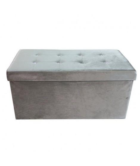 DIAMANT Banc coffre de rangement 100% polyester velours 76x38x38 cm gris