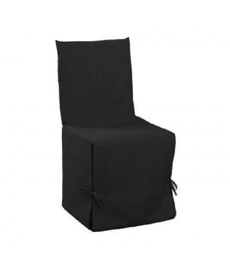 DOUCEUR d'INTERIEUR Housse de chaise unie a nouettes 50x50x50 cm Essentiel noir