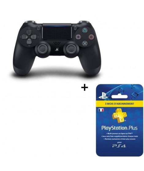 Manette DualShock 4 Noire V2 PS4 + Abonnement Playstation Plus 3 Mois