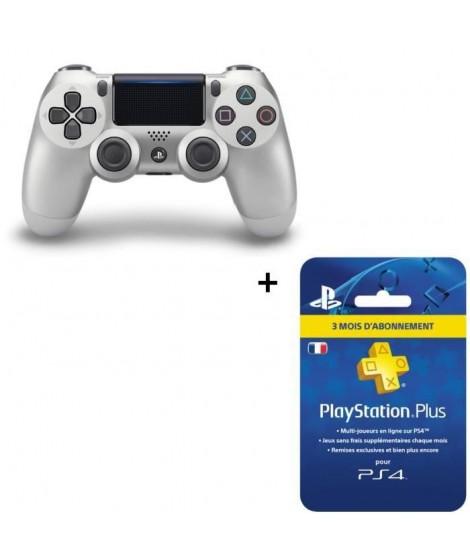 Manette DualShock 4 Silver V2 + Abonnement PlayStation Plus 3 mois
