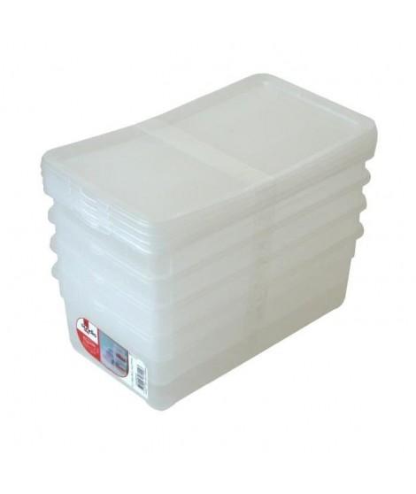 SUNDIS Lot de 4 boîtes de rangement pour chaussures femme Clear box 5L 33x19x11 cm transparent