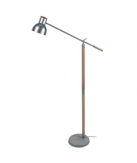 Lampadaire liseuse articulée bois massif et métal Olsen E27 diametre 80 cm aluminium